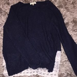 Navy blue sweater with lace detailing